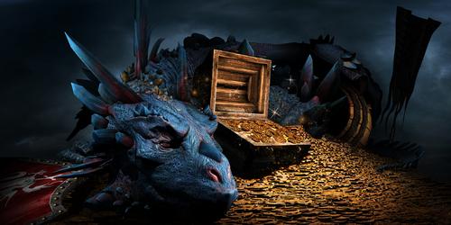 Fantasy scene with blue dragon
