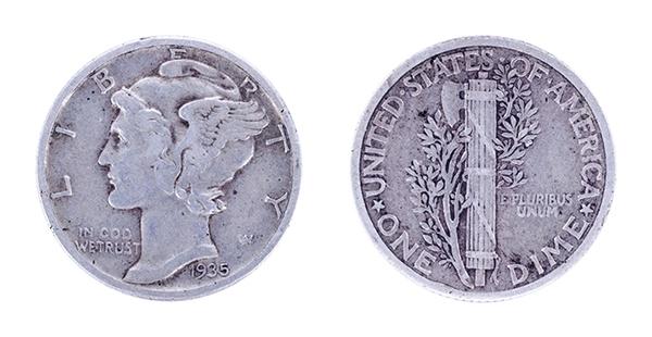 both sides of 1935 mercury dime