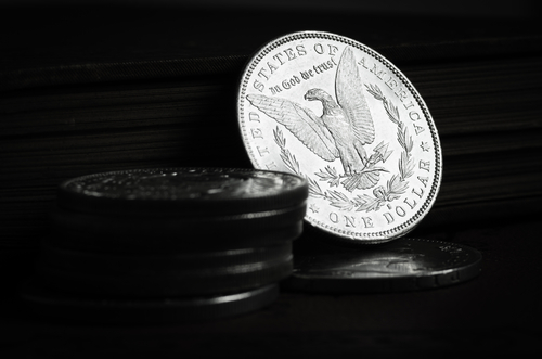 old silver coin isolated