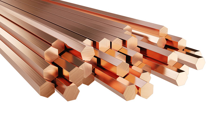 Stack of copper rods