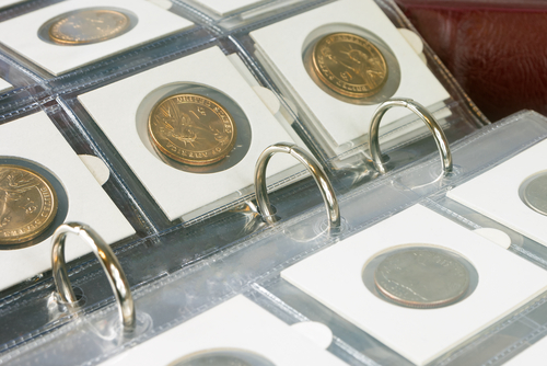 Coins in an album
