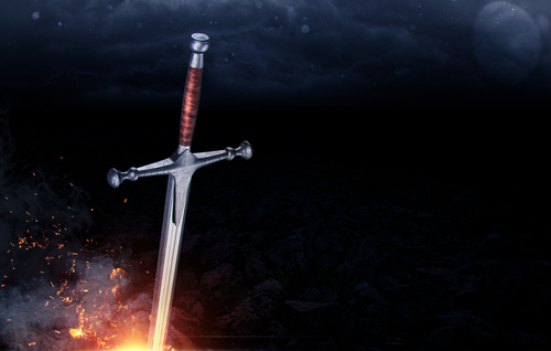 Metal sword on a dark background
