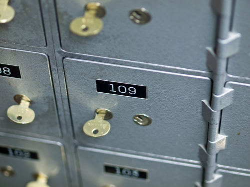 Old Gray and Numbered Safety Deposit Box