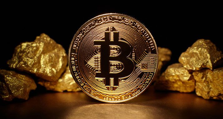 bitcoin with gold nuggets