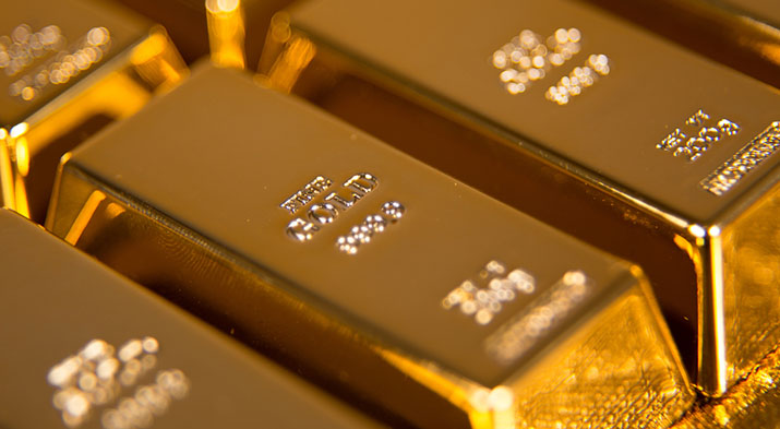 gold bullion bar closeup
